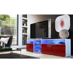 MEUBLE TV Meuble tv bas blanc / bordeaux 194 cm