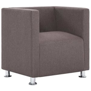 FAUTEUIL vidaXL Fauteuil cube Taupe Polyester