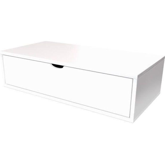 Cube de rangement longueur 100 cm + tiroir - Couleur - Blanc