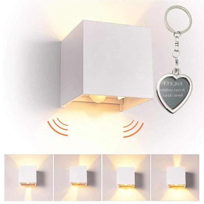 7W LED Applique Murale Avec Détecteur De Mouvement Pour Interieur/Exterieur, IP65 Réglable Moderne Design 3000K Blanc Chaud (Blanc)