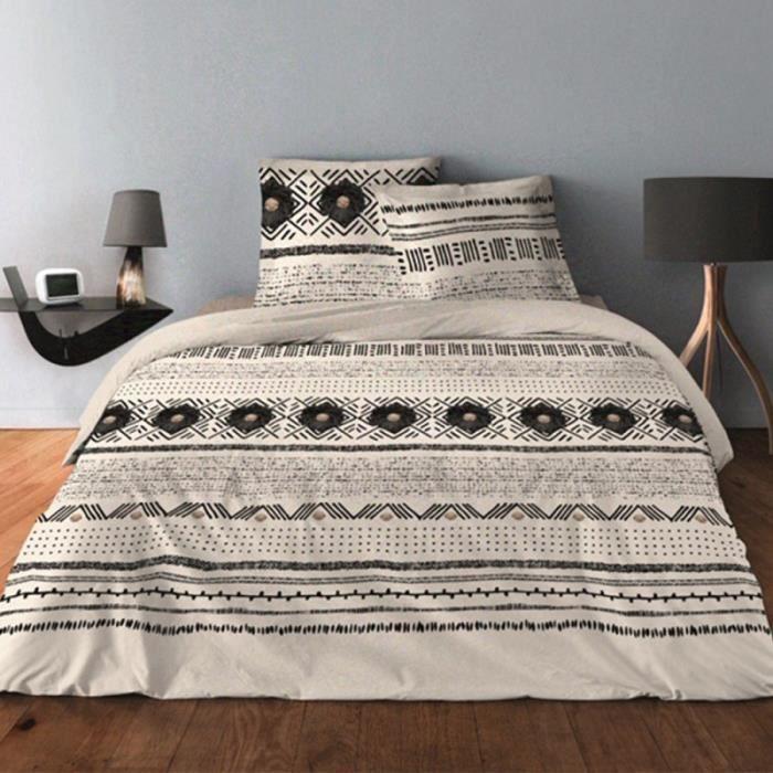 Parure de draps pour lit de 160 x 200 cm 4 PIECES BOUTON BEIGE Coton 57 fils supérieur