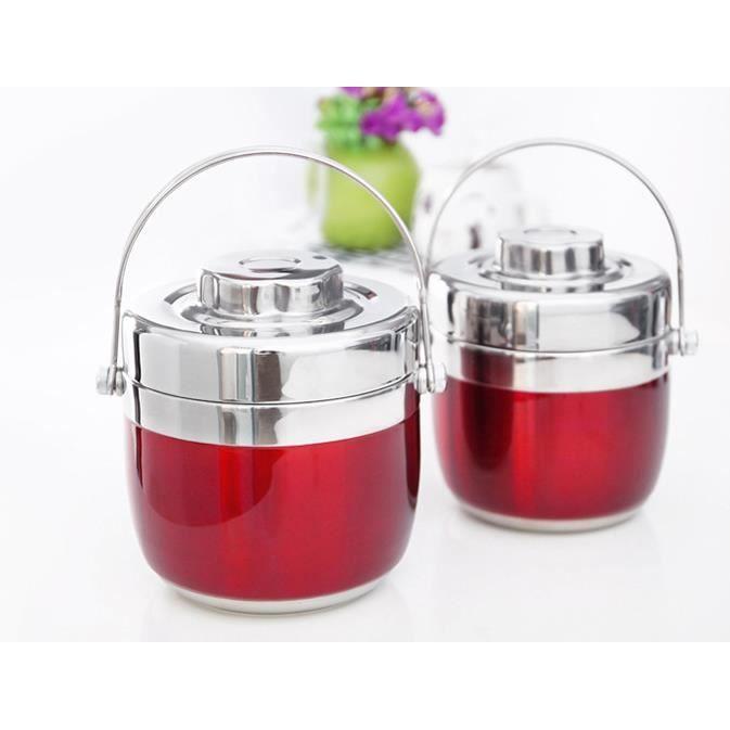 1.5L Boîte Alimentaire Garde-chaud Inox avec Sac Isotherme Boîte à Lunch Isolée à Deux Couches Rouge