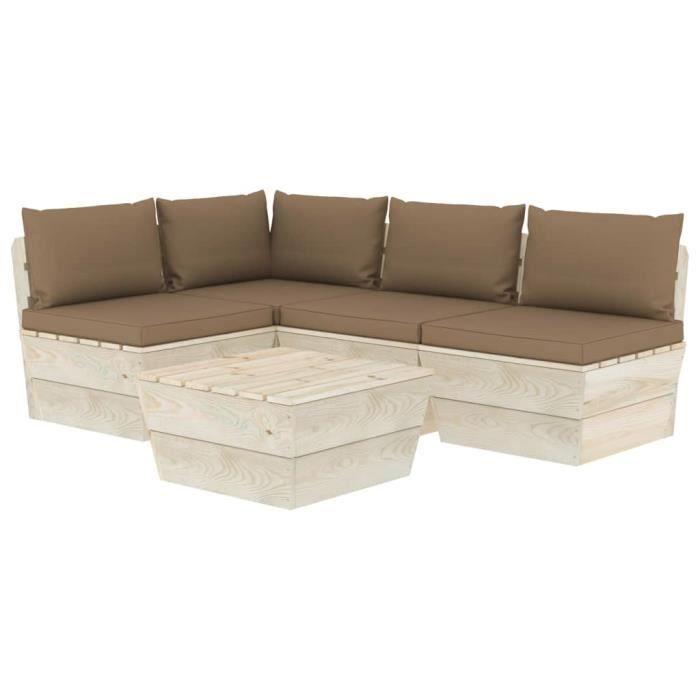 #94204 Salon de jardin palette 5 pcs Professionnel - Ensemble Table et Chaise de Jardin avec coussins Épicéa imprégné Parfait