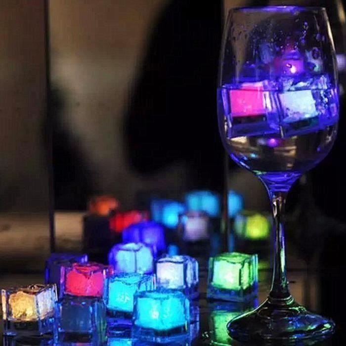 Lot de 12 Glaçon lumineux reutilisables LED avec glaçons Lumineux LED à Effet de clignotement - Colore