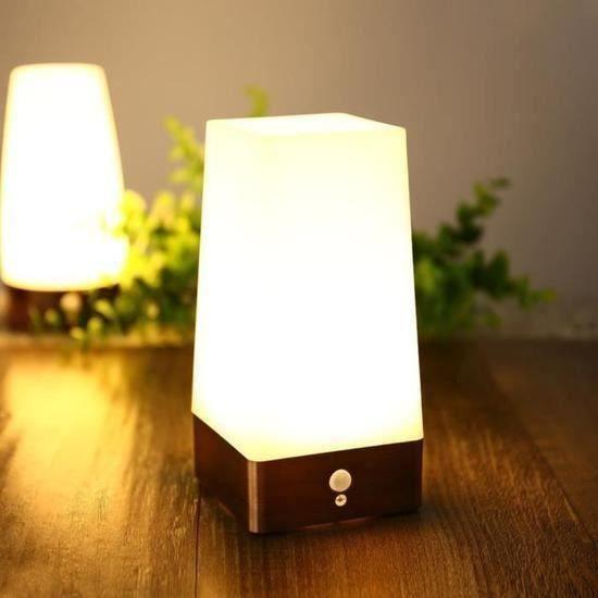 Lampe Table Chevet LED Sans Fil Capteur PIR détecteur de mouvement Lampe Couloir Table LED Veilleuses A47362