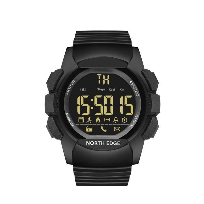 Montre intelligente NORTH EDGE AK hommes LED rétro-éclairé montre Sport étanche 100 M verre trempé montre Bluetooth IOS Android