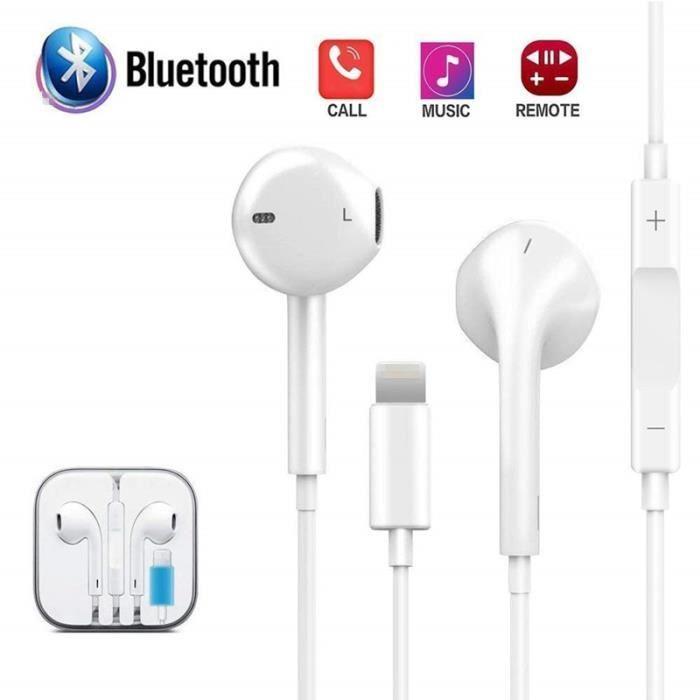 Ecouteurs filaires Bluetooth Ecouteurs Ecouteurs pour iPhone 7 8 Plus X XR XS Max blanc