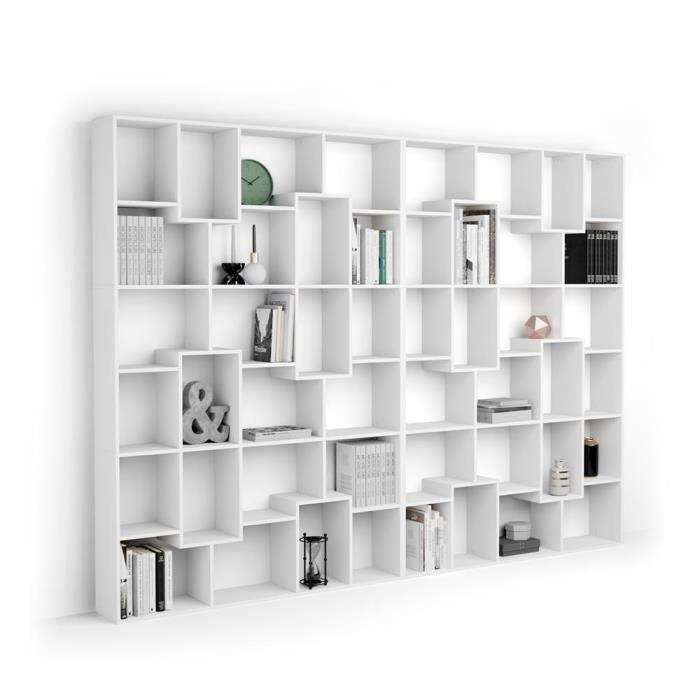 Mobili Fiver, Bibliothèque XL Iacopo (321,6 x 236,4 cm), Frêne Blanc, Mélaminé, Made in Italy