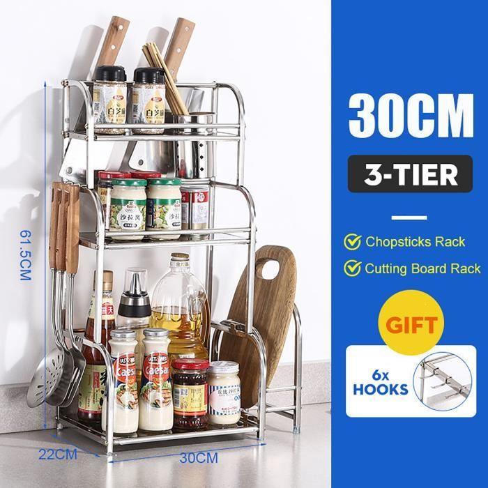 30CM 3-étage Étagère à épices Cuisine rangement Support stockage bouteille pots Porte Couteau Fourchette Planche à découper