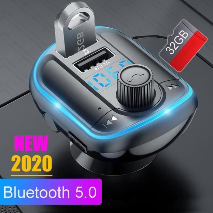 Transmetteur FM Bluetooth pour voiture, 5.0, Charge rapide, Modulateur FM TF, Clé USB, Lecteur MP3, Musi