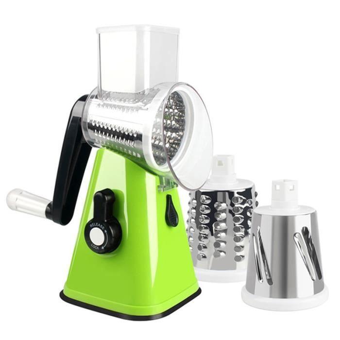Hachoir manuel,3 en 1 multi fonction tambour Cutter trancheuse rotatif râpe robot culinaire pour carotte fromage - Type green