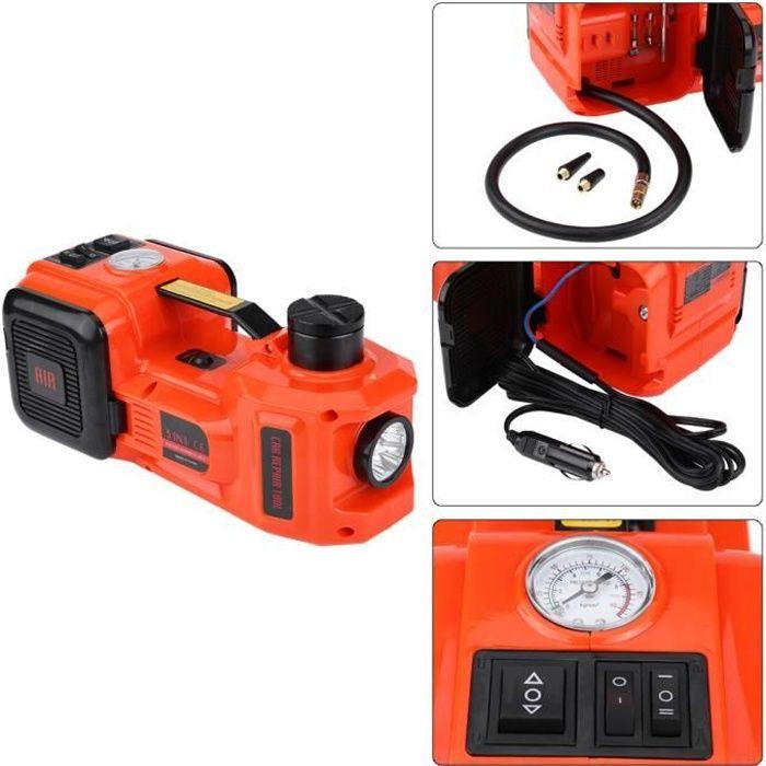 Cric Hydraulique, Cric à Voiture Cric Électrique Automatique Cric 12V avec Lampe LED, Capacité de 5 Tonnes -HB065