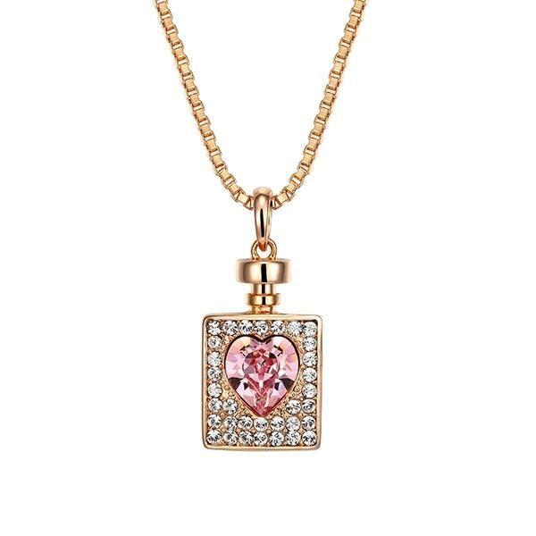 Pendentif Flacon et Coeur en Cristal Swarovski Elements