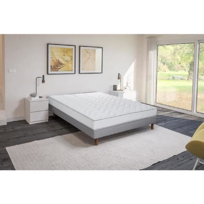 finlandek ensemble matelas sommier bois massif 140x200 mousse. Black Bedroom Furniture Sets. Home Design Ideas