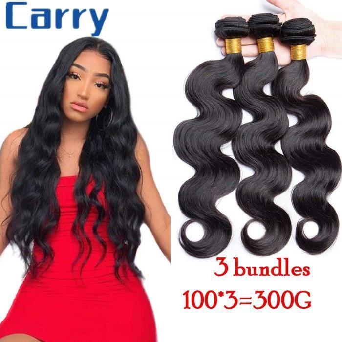 3 Tissage Brésilien boucle cheveux naturels virgin human hair body wave--24-26-28-