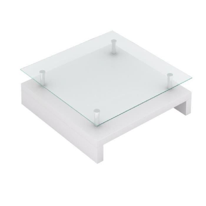 Table Basse de Salon Carrée verre Blanc Laquée pour maison Design élégant Haute qualité moderne
