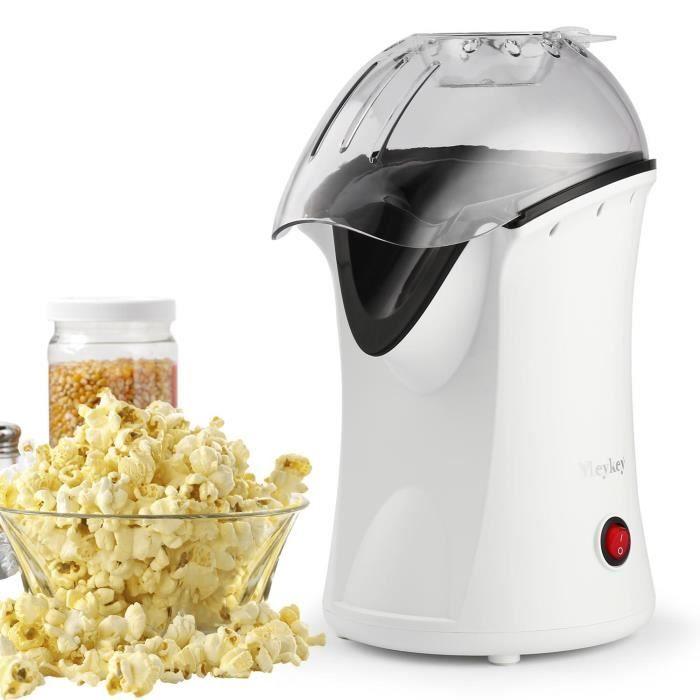 Machine à Pop Corn Electrique 1200W, Sans huile, Air Chaud, Appareils à Popcorn Electrique Portable Avec Tasse Doseuse, Blanc