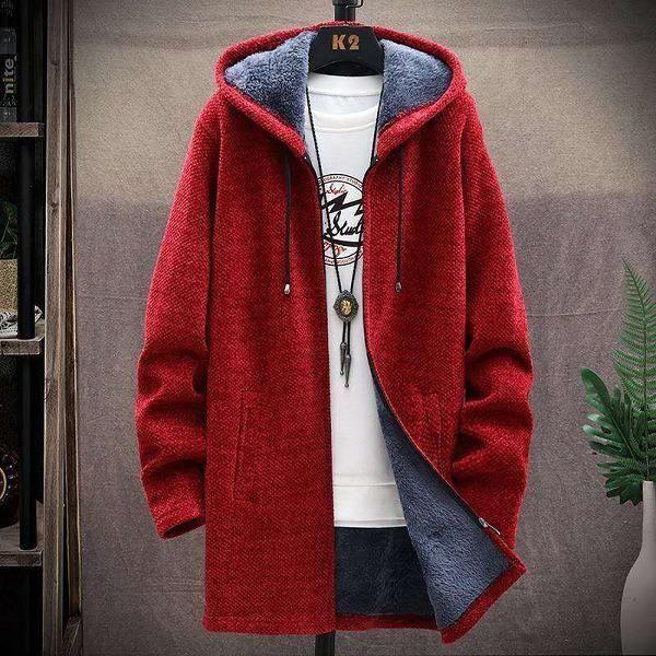 Pull homme,Hommes chandail polaire Cardigan veste d'hiver hommes chandails fins hiver Long à capuche chandail épais chaud manteau