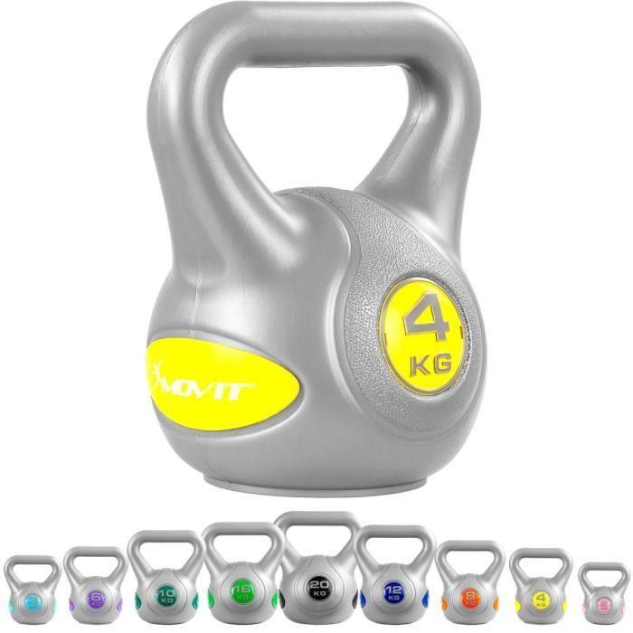 MOVIT Kettlebell plastique 4 kg - Gris/jaune