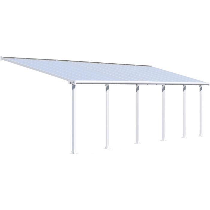 Pergola adossée Olympia 27,5 m² - Aluminium et polycarbonate - Blanc - PALRAM
