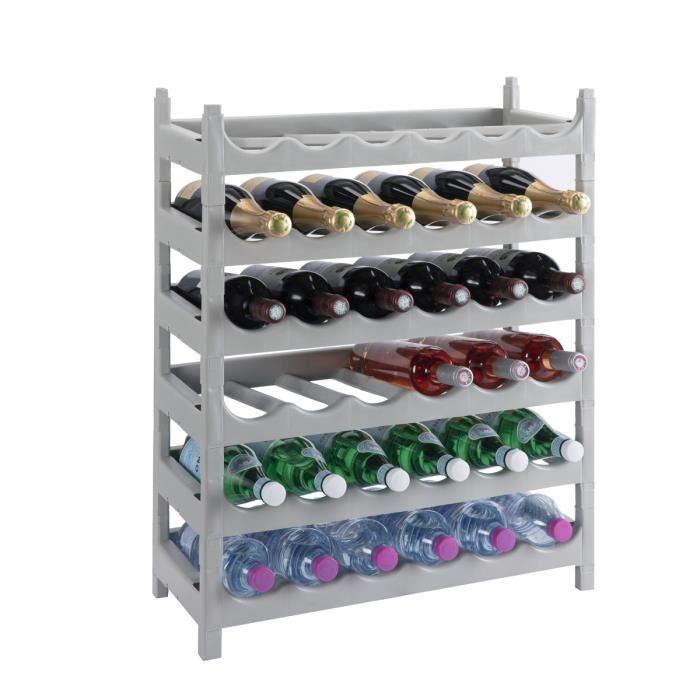 Etagère à bouteille, casier à bouteille modulable plastique 36 bouteilles coloris gris Gris
