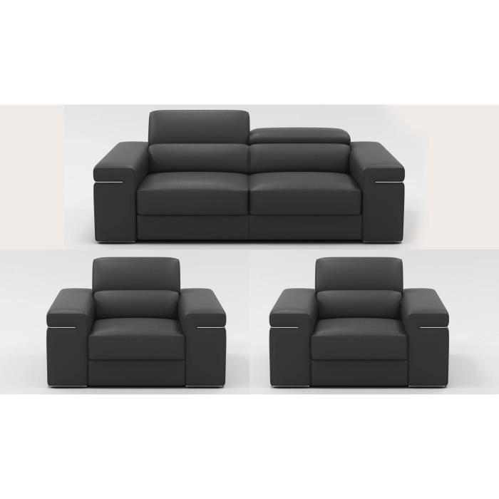 Ensemble canap 3 1 1 places en cuir gris billy achat vente canap sofa - Ensemble canape cuir ...