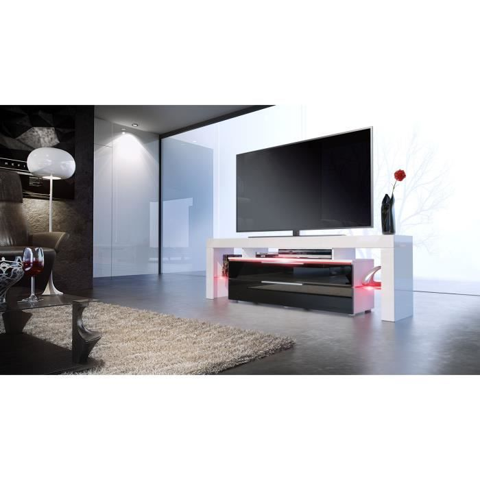 meuble tv design blanc et noir avec led 163 cm achat vente buffet bahut meuble tv design. Black Bedroom Furniture Sets. Home Design Ideas