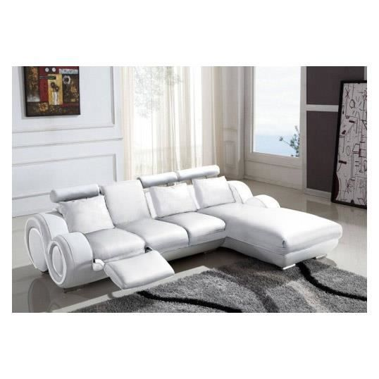 canap d 39 angle relax en cuir blanc design vilnus achat vente canap sofa divan cdiscount. Black Bedroom Furniture Sets. Home Design Ideas