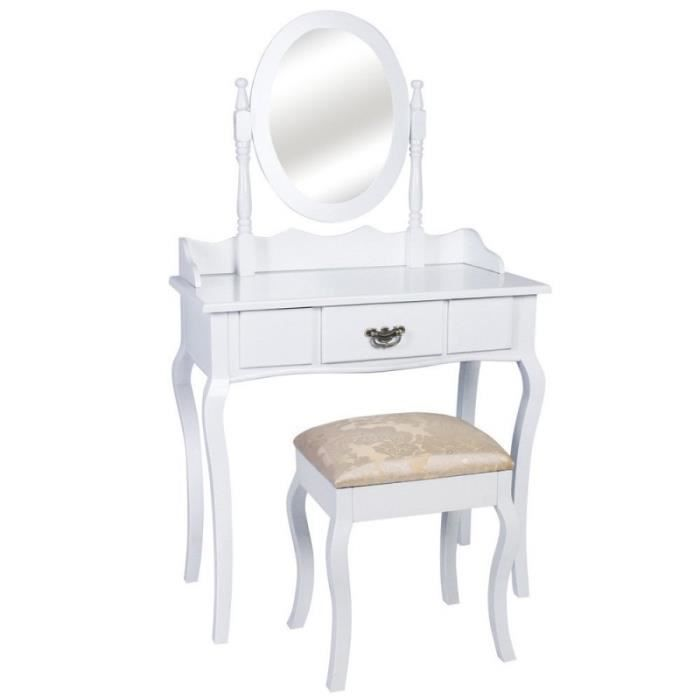 coiffeuse bois blanche miroir tabouret 1401002 achat. Black Bedroom Furniture Sets. Home Design Ideas