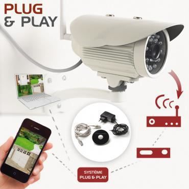 cam ra de surveillance wifi ext rieure plug and play achat vente cam ra. Black Bedroom Furniture Sets. Home Design Ideas