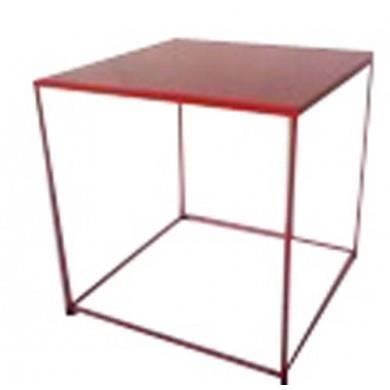 Table carre metal rouge achat vente table manger for Table a manger carre