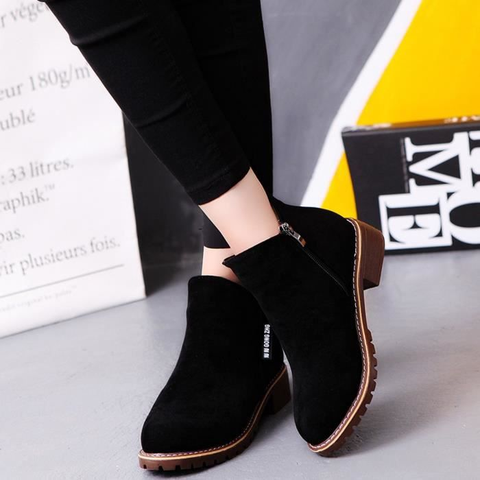 6426 Low Casual Noir uji Trim Boots Femmes Round Leather Ankle Fashion Martin Toe Shoes 5PwO84q