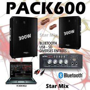 PACK SONO PACK SONO 600 + AMPLI + 2 ENCEINTES 300W PA DJ SON