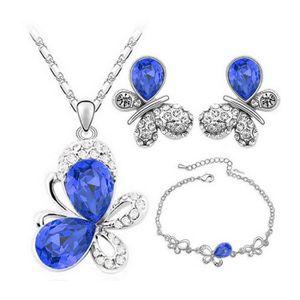 Élégant Parure de Bijoux Bleu Roi Foncé Boucles D/'Oreilles Bracelet Pendentif