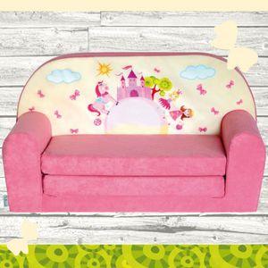 FAUTEUIL - CANAPÉ BÉBÉ Mini-canapé lit enfant Château Rose