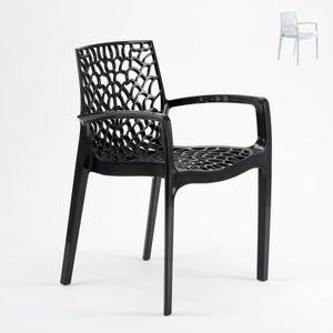 FAUTEUIL JARDIN  Chaise en polypropylène accoudoirs jardin cafè Gra