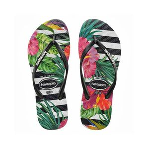 TONG Havaianas Slim Tropical Floral Tongs Noir Blanc Ta