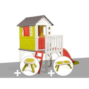 MAISONNETTE EXTÉRIEURE Cabane enfant Pilotis - Smoby + Tabouret + Banc 26