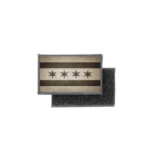 Patch ecusson imprime badge vintage drapeau chicago camo