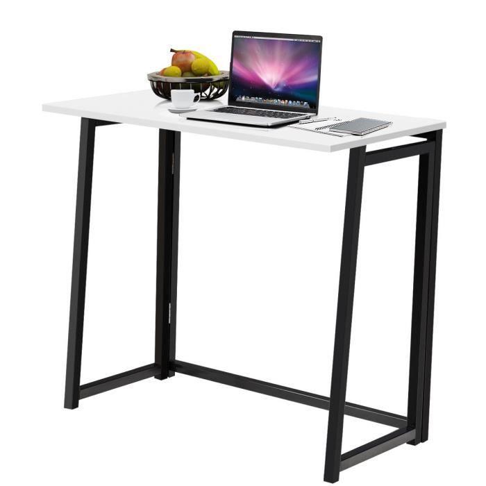 COSTWAY Bureau d'Ordinateur en Bois Pliable Table de Bueau Rectangulaire Cadre en Acier sans Assemblage pour Salon/Domicile Blanc
