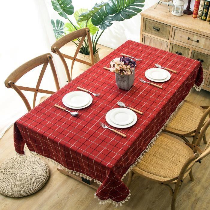 Nappe de Table à Manger Scandinave Polyester Carreaux Rectangulaire Rouge,140x220 cm