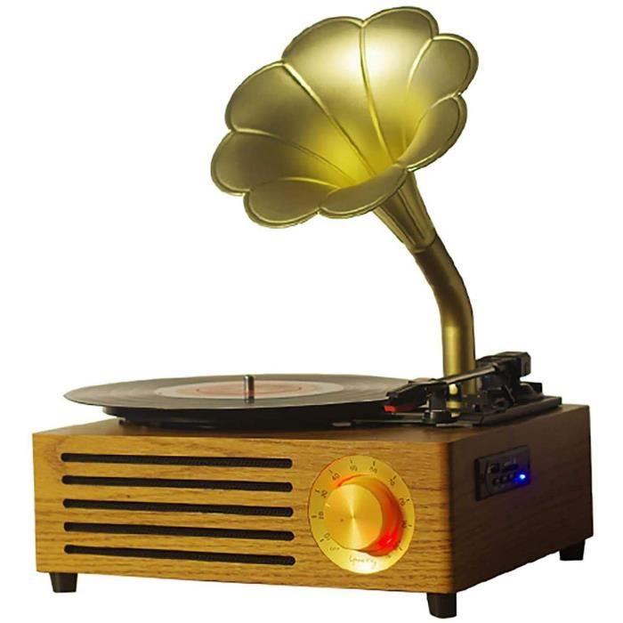 Hejok Platine Tourne-Disque rétro, phonographe Vintage, Tourne-Disque, Platine Vinyle Bluetooth, Haut-Parleur intégré[669]