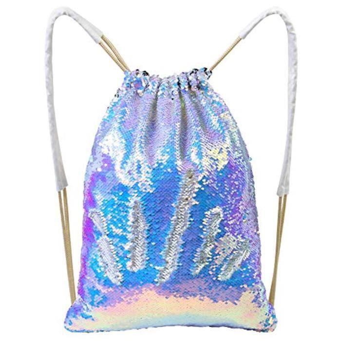 Sac De Voyage N9N62 Sac de sirène Paillette, Sparkly Sequin Drawstring Backpack Glitter Sport Sac de danse Brillant Sac à dos Voyage