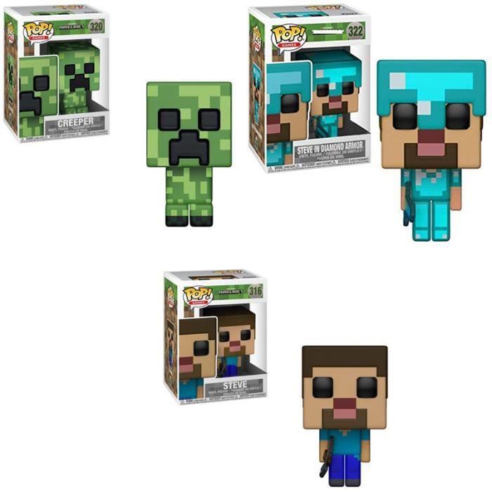 3 pièces FUNKO POP figurine Minecraft-CREEPER STEVE en diamant armure Action Collection modèle jouets pour enfants cadeau de noël