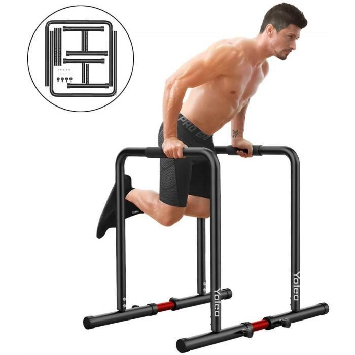 KEEP Barres de Musculation DIPS Parallèles avec Barre de Largeur Ajustable en Acier