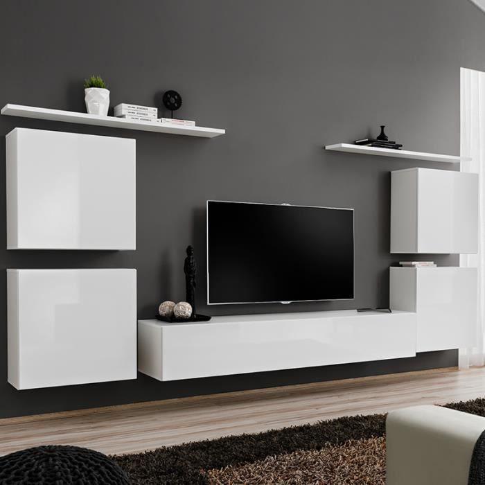 Ensemble TV mural blanc laqué SALANDRA 3 Blanc L 320 x P 40 x H 150 cm