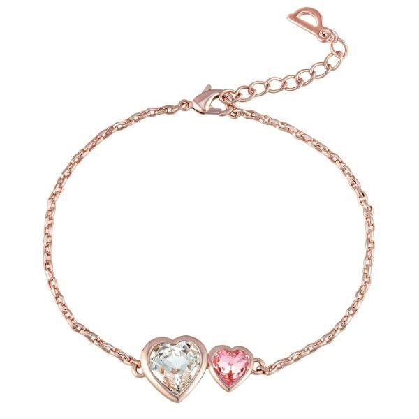 Bracelet Double Coeurs en Cristal Swarovski Elements Rose et Blanc et Plaqué Or Rose