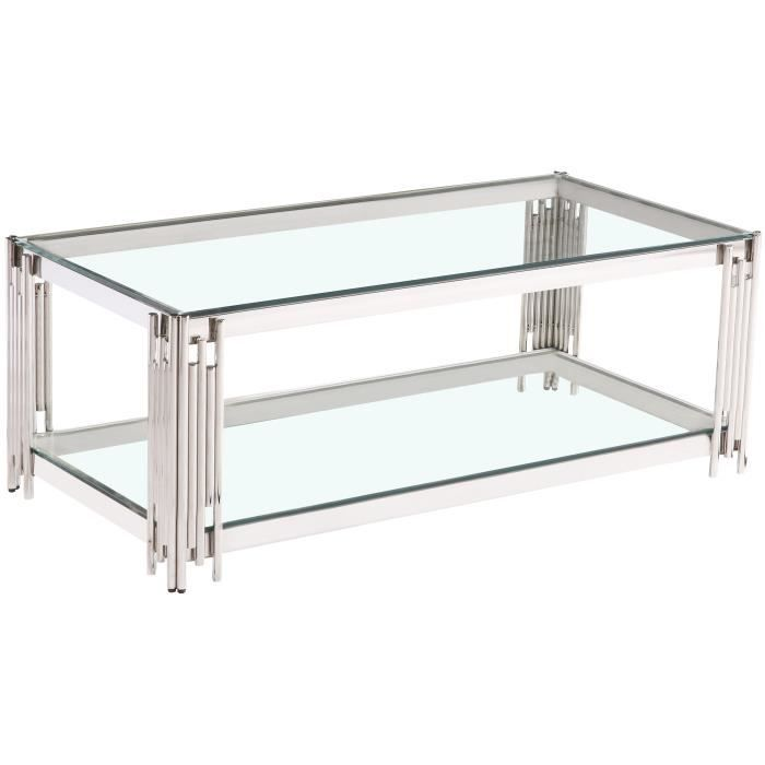 Table basse design en acier inoxydable poli argenté et plateau en verre trempé transparent 120 cm x 60 cm collection MILANO