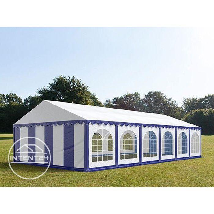 TOOLPORT Barnum 6x12 m, tonnelle chapiteau tente de réception, PVC 500g/m², H. 2 m, bleu-blanc