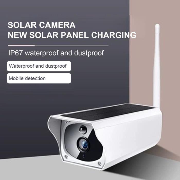Caméra IP de surveillance à distance étanche 1080P HD-compatible caméra de surveillance de panneau solaire WiFi pour extérieur